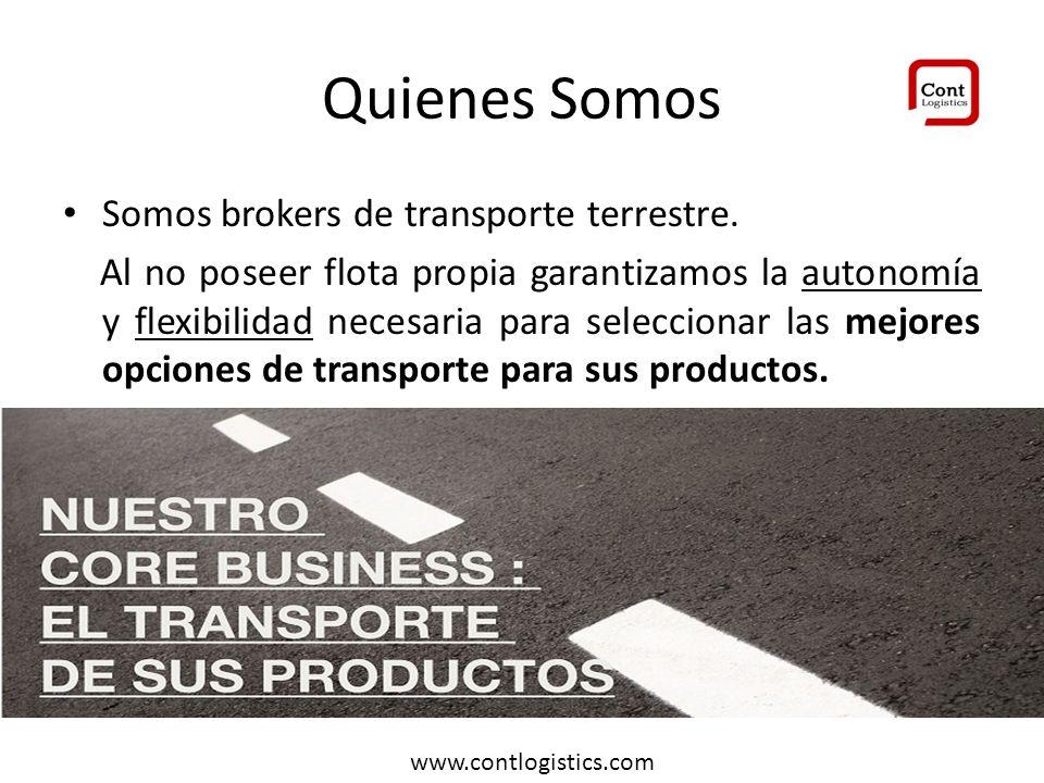 Quienes Somos Somos brokers de transporte terrestre. Al no poseer flota propia garantizamos la autonomía y flexibilidad necesaria para seleccionar las
