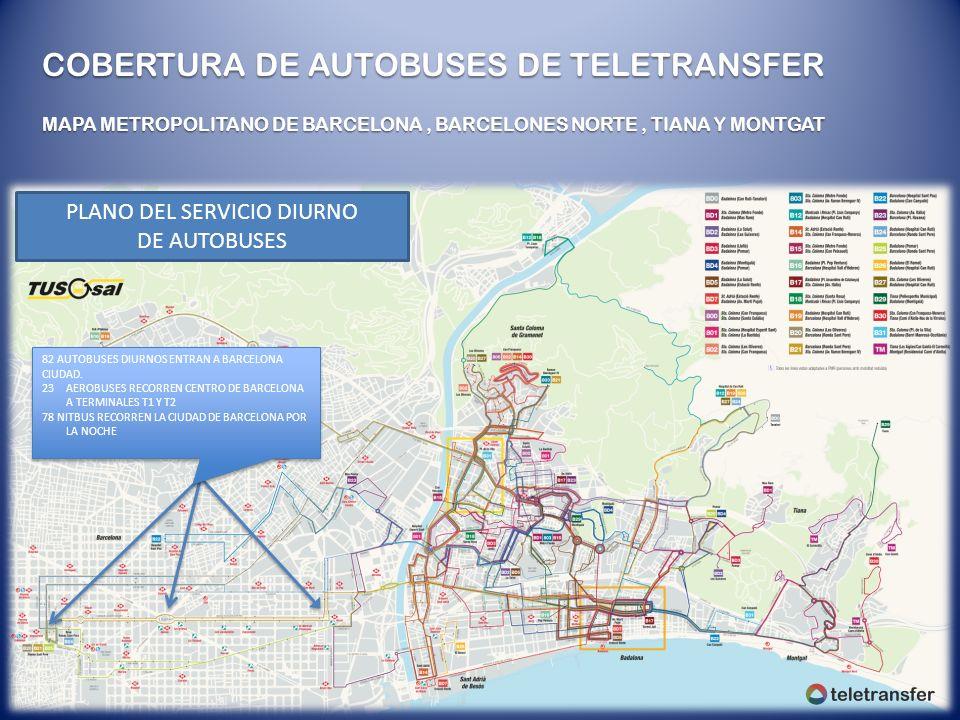 COBERTURA DE AUTOBUSES DE TELETRANSFER MAPA METROPOLITANO DE BARCELONA, BARCELONES NORTE, TIANA Y MONTGAT PLANO DEL SERVICIO DIURNO DE AUTOBUSES 82 AU
