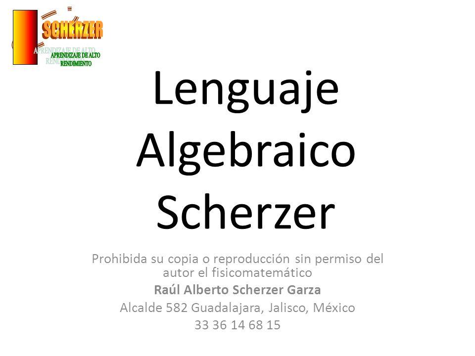 Lenguaje Algebraico Scherzer Prohibida su copia o reproducción sin permiso del autor el fisicomatemático Raúl Alberto Scherzer Garza Alcalde 582 Guada