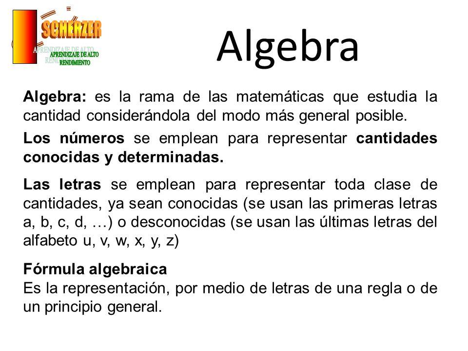 Algebra Algebra: es la rama de las matemáticas que estudia la cantidad considerándola del modo más general posible. Los números se emplean para repres