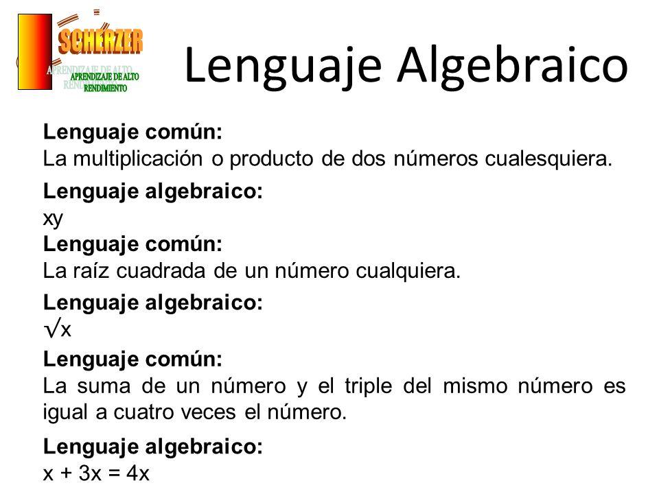 Lenguaje Algebraico Lenguaje común: La multiplicación o producto de dos números cualesquiera. Lenguaje algebraico: xy Lenguaje común: La raíz cuadrada