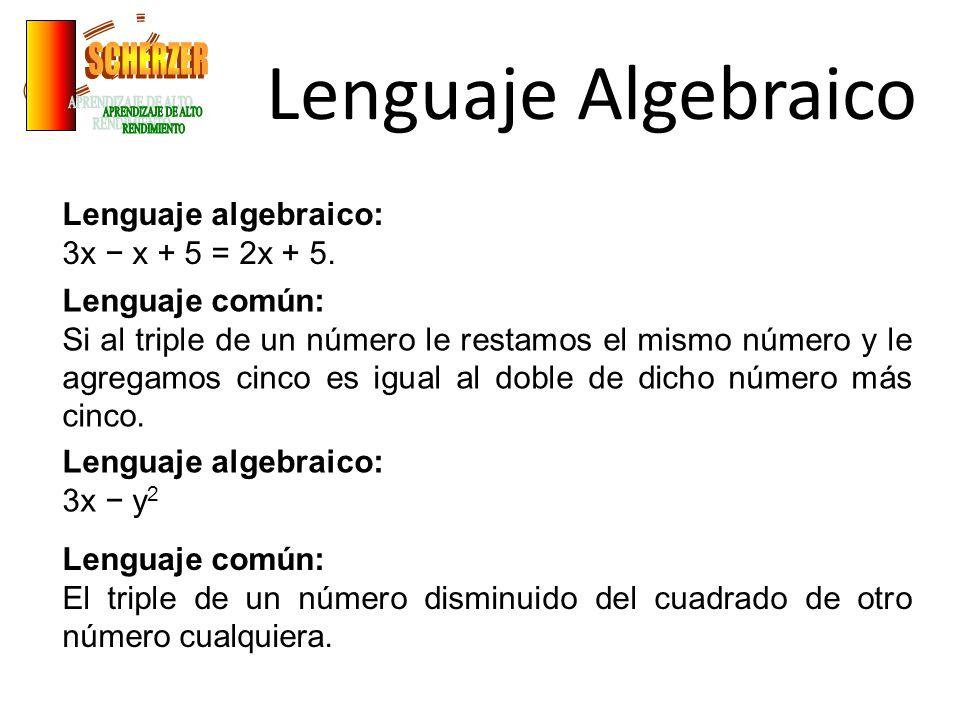 Lenguaje Algebraico Lenguaje algebraico: 3x x + 5 = 2x + 5. Lenguaje común: Si al triple de un número le restamos el mismo número y le agregamos cinco