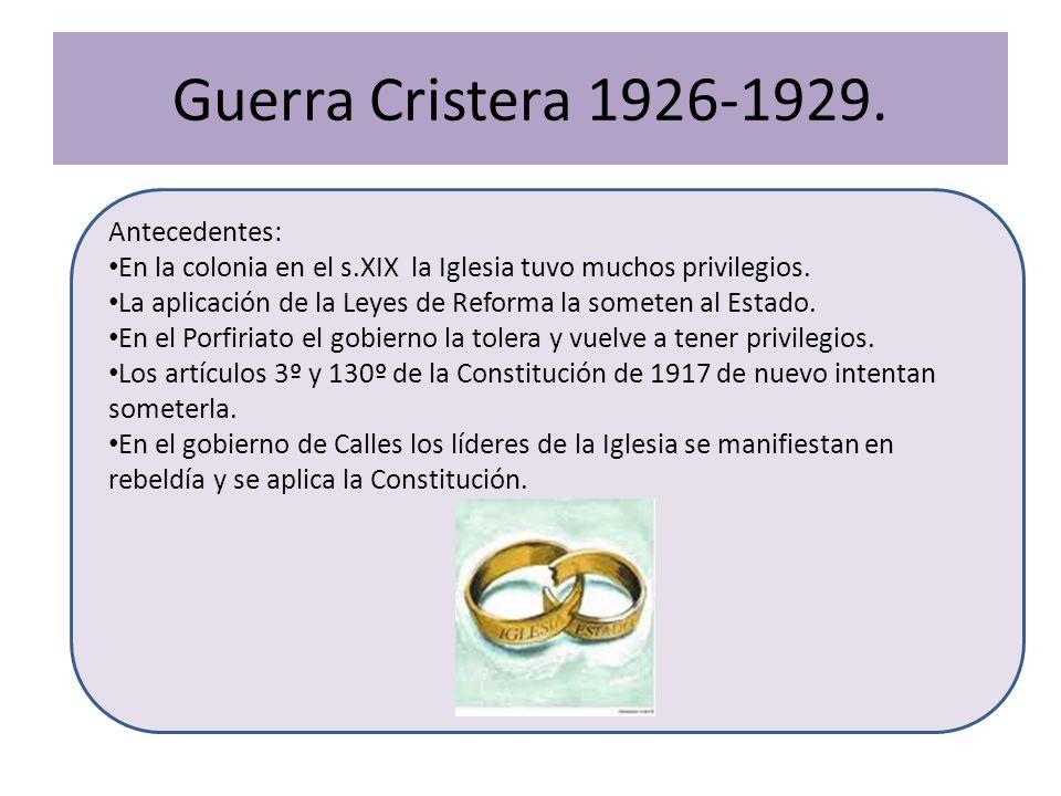Guerra Cristera 1926-1929. Antecedentes: En la colonia en el s.XIX la Iglesia tuvo muchos privilegios. La aplicación de la Leyes de Reforma la someten