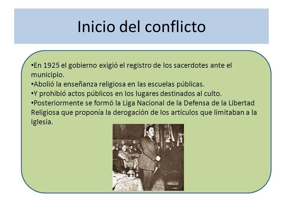 Inicio del conflicto En 1925 el gobierno exigió el registro de los sacerdotes ante el municipio. Abolió la enseñanza religiosa en las escuelas pública