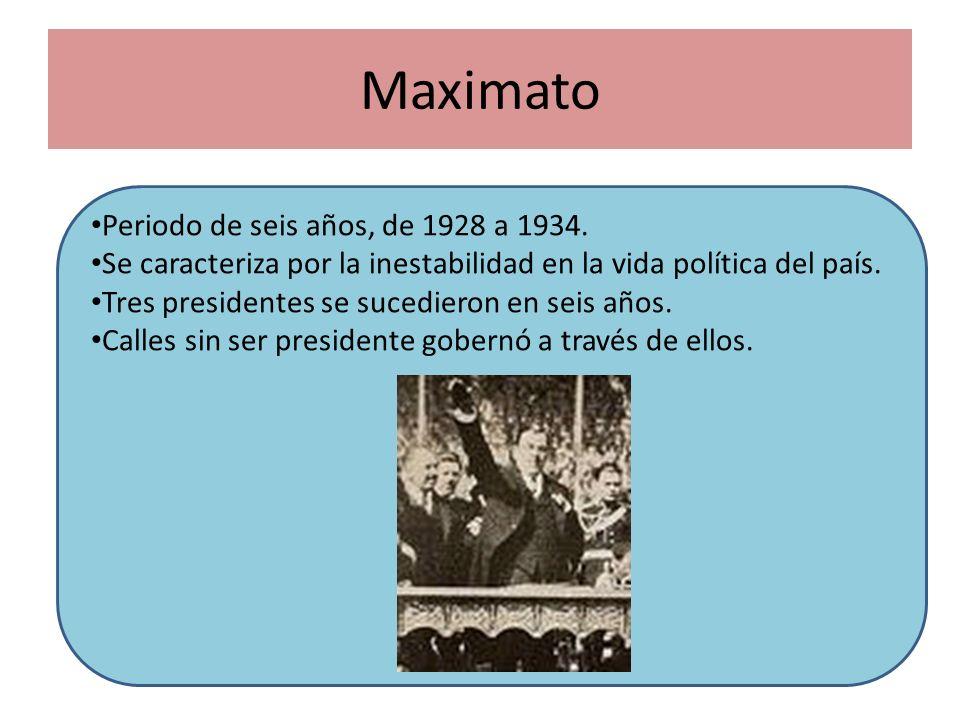 Maximato Periodo de seis años, de 1928 a 1934. Se caracteriza por la inestabilidad en la vida política del país. Tres presidentes se sucedieron en sei
