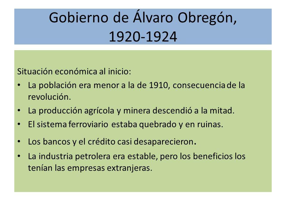 Gobierno de Álvaro Obregón, 1920-1924 Situación económica al inicio: La población era menor a la de 1910, consecuencia de la revolución. La producción