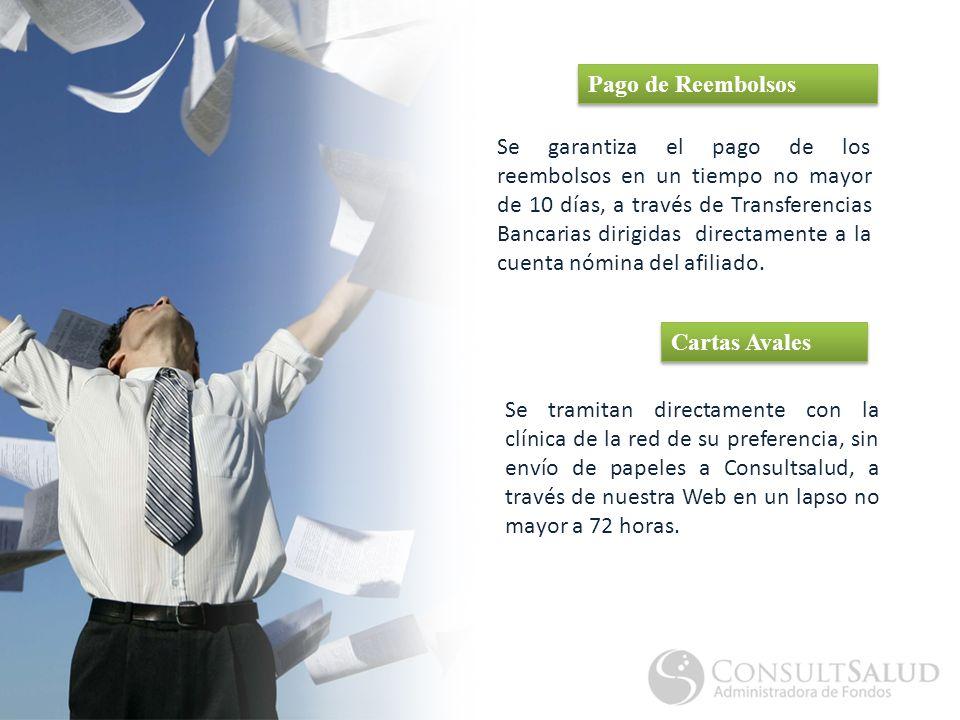 Se garantiza el pago de los reembolsos en un tiempo no mayor de 10 días, a través de Transferencias Bancarias dirigidas directamente a la cuenta nómina del afiliado.