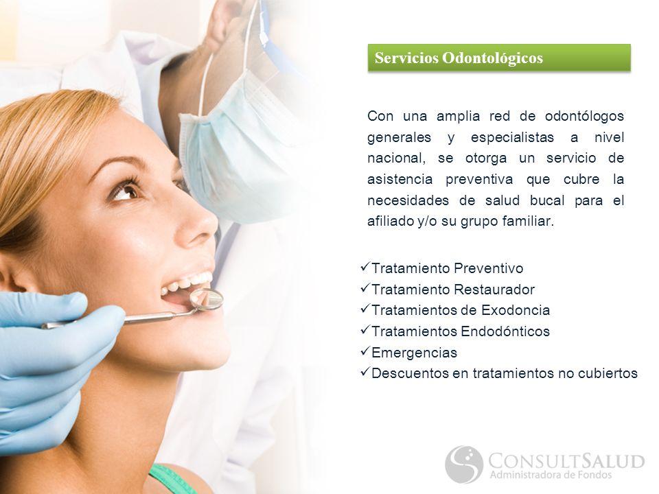 Con una amplia red de odontólogos generales y especialistas a nivel nacional, se otorga un servicio de asistencia preventiva que cubre la necesidades de salud bucal para el afiliado y/o su grupo familiar.