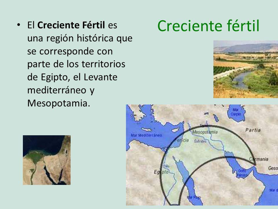 Creciente fértil El Creciente Fértil es una región histórica que se corresponde con parte de los territorios de Egipto, el Levante mediterráneo y Meso