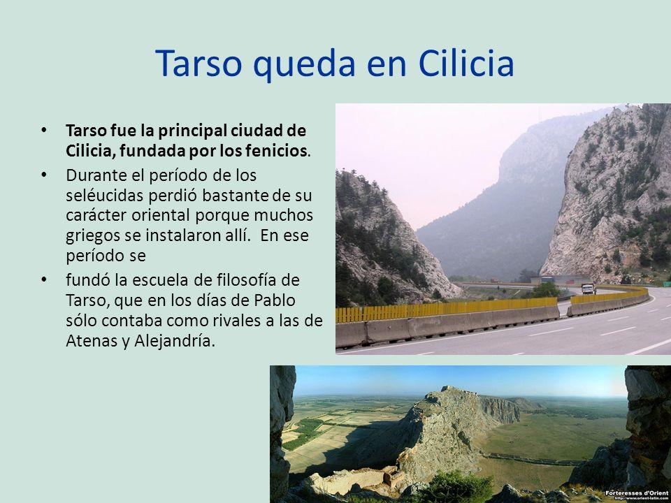 Tarso queda en Cilicia Tarso fue la principal ciudad de Cilicia, fundada por los fenicios. Durante el período de los seléucidas perdió bastante de su