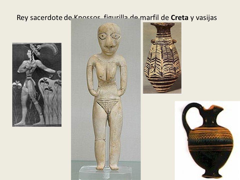 Rey sacerdote de Knossos, figurilla de marfil de Creta y vasijas