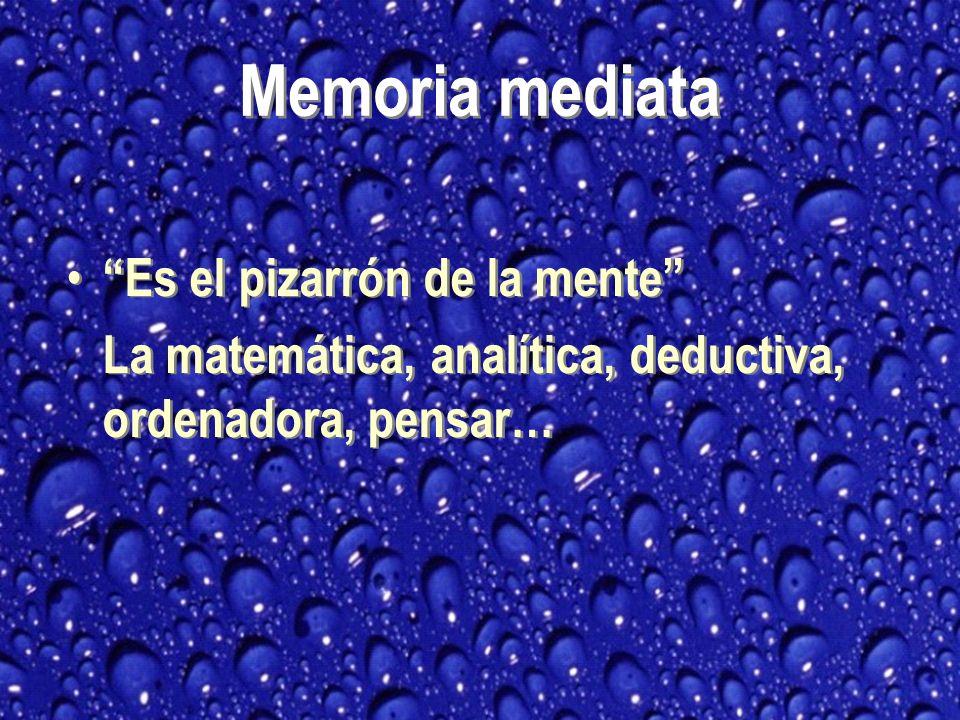 Es el pizarrón de la mente La matemática, analítica, deductiva, ordenadora, pensar… Es el pizarrón de la mente La matemática, analítica, deductiva, ordenadora, pensar… Memoria mediata