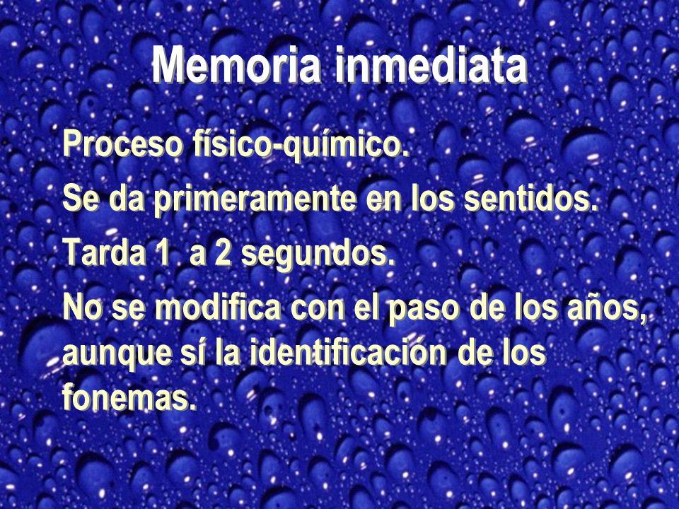 TIPOS DE MEMORIA Inmediata / Sensorial / Registro Mediata /Trabajo / Corto plazo Largo plazo /Almacenamiento Metamemoria Inmediata / Sensorial / Registro Mediata /Trabajo / Corto plazo Largo plazo /Almacenamiento Metamemoria