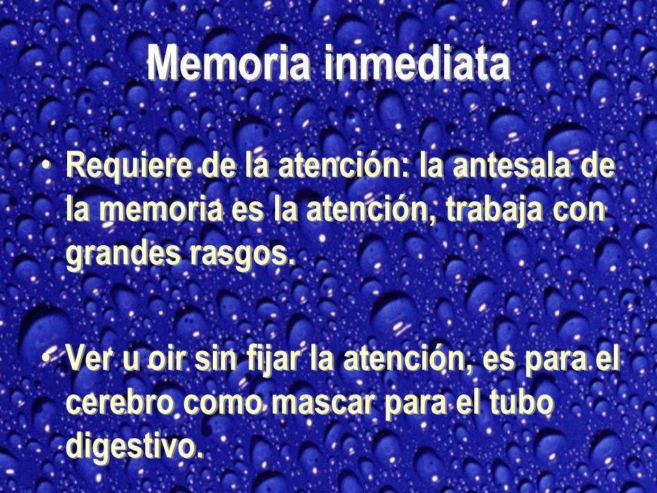 Requiere de la atención: la antesala de la memoria es la atención, trabaja con grandes rasgos.