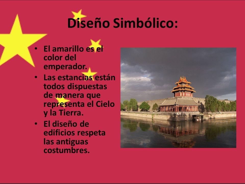 Diseño Simbólico: El amarillo es el color del emperador. Las estancias están todos dispuestas de manera que representa el Cielo y la Tierra. El diseño