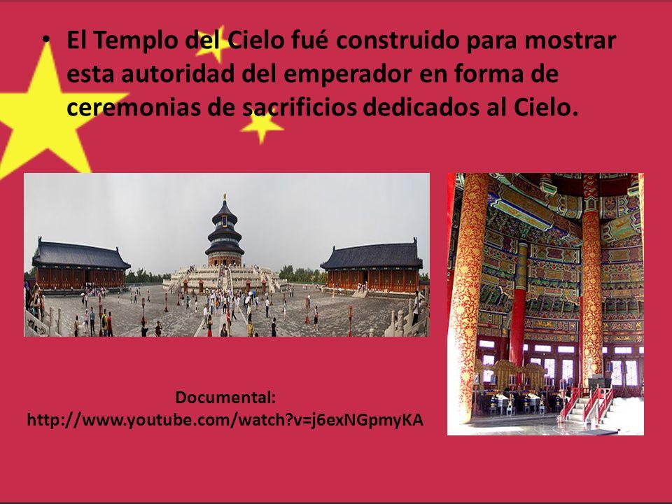 Documental: http://www.youtube.com/watch?v=j6exNGpmyKA El Templo del Cielo fué construido para mostrar esta autoridad del emperador en forma de ceremo