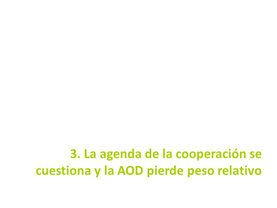 3. La agenda de la cooperación se cuestiona y la AOD pierde peso relativo