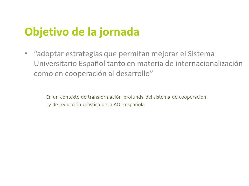 Objetivo de la jornada adoptar estrategias que permitan mejorar el Sistema Universitario Español tanto en materia de internacionalización como en cooperación al desarrollo En un contexto de transformación profunda del sistema de cooperación..y de reducción drástica de la AOD española