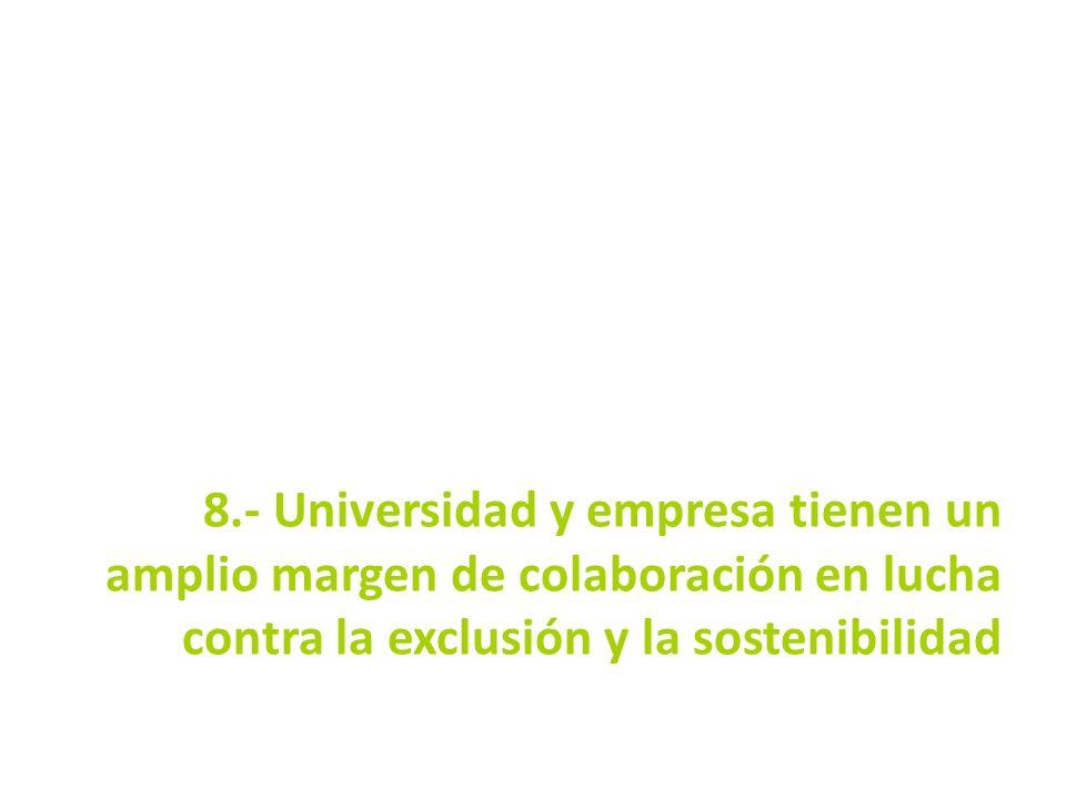 8.- Universidad y empresa tienen un amplio margen de colaboración en lucha contra la exclusión y la sostenibilidad