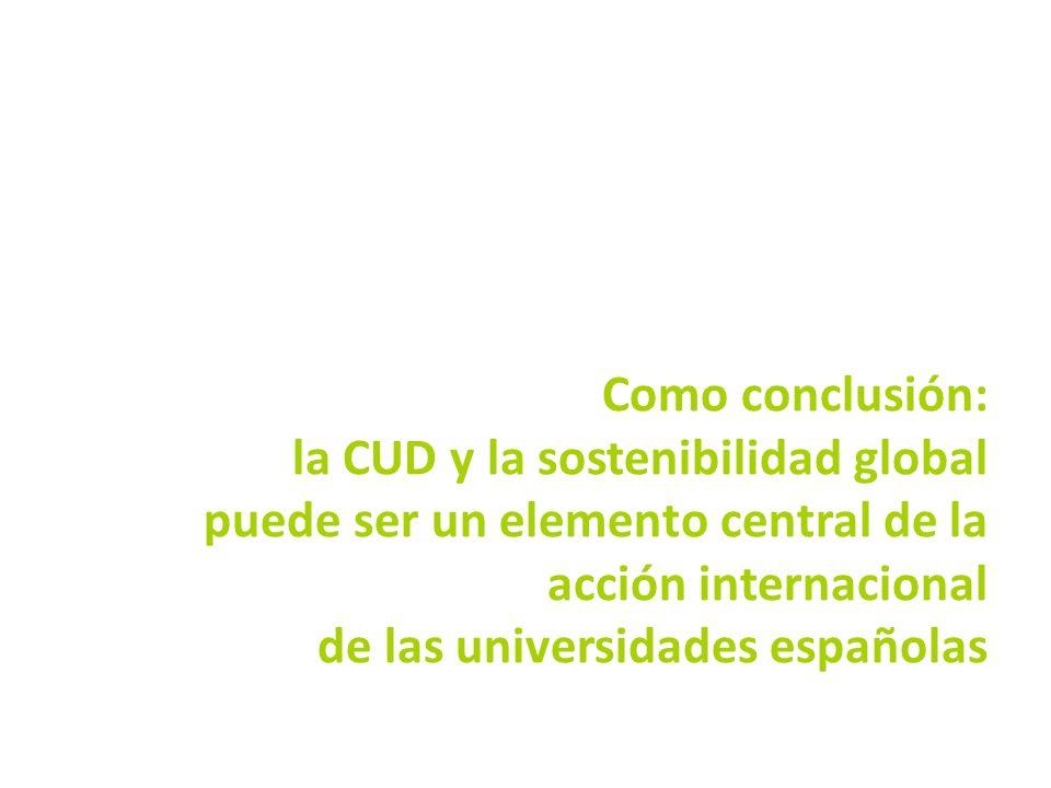 Como conclusión: la CUD y la sostenibilidad global puede ser un elemento central de la acción internacional de las universidades españolas