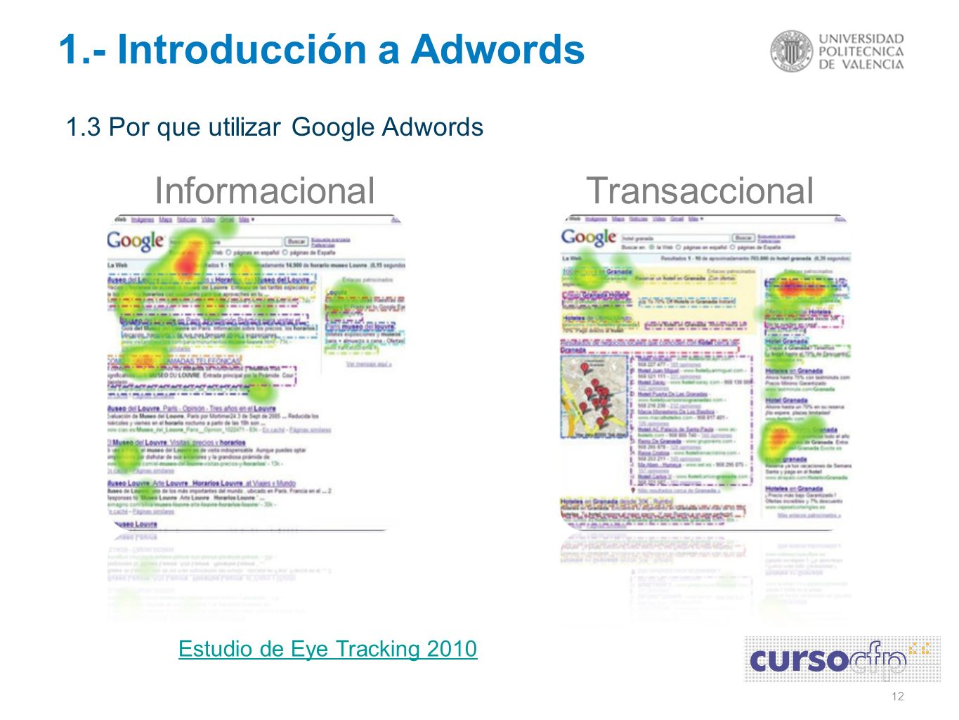 12 1.- Introducción a Adwords 1.3 Por que utilizar Google Adwords InformacionalTransaccional Estudio de Eye Tracking 2010
