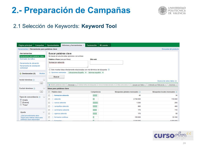 24 2.- Preparación de Campañas 2.1 Selección de Keywords: Keyword Tool