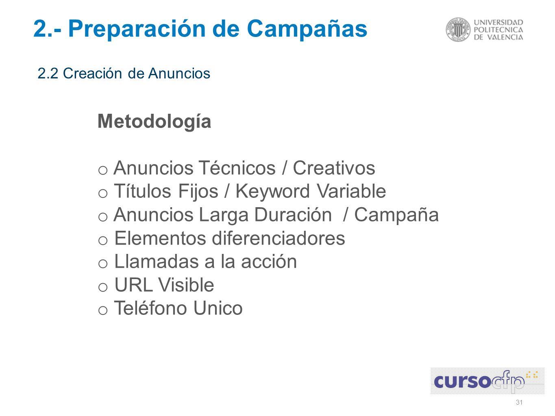 31 2.- Preparación de Campañas 2.2 Creación de Anuncios Metodología o Anuncios Técnicos / Creativos o Títulos Fijos / Keyword Variable o Anuncios Larg