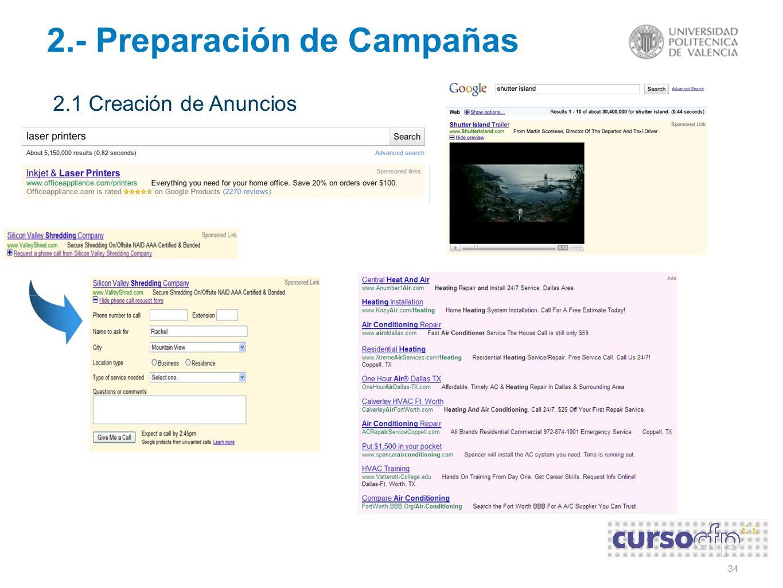 34 2.- Preparación de Campañas 2.1 Creación de Anuncios
