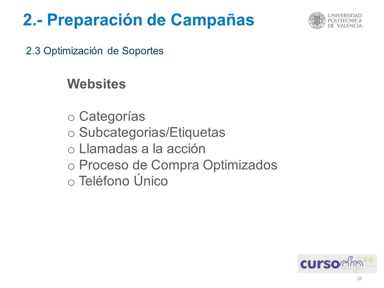 36 2.- Preparación de Campañas 2.3 Optimización de Soportes Websites o Categorías o Subcategorias/Etiquetas o Llamadas a la acción o Proceso de Compra Optimizados o Teléfono Único