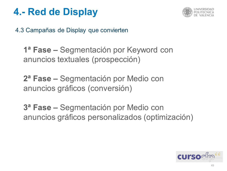 49 4.3 Campañas de Display que convierten 4.- Red de Display 1ª Fase – Segmentación por Keyword con anuncios textuales (prospección) 2ª Fase – Segmentación por Medio con anuncios gráficos (conversión) 3ª Fase – Segmentación por Medio con anuncios gráficos personalizados (optimización)