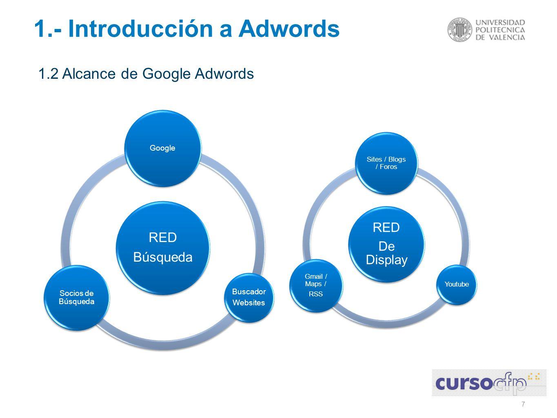 18 1.- Introducción a Adwords 1.4 Tipos de Campañas de Google Adwords o Campañas de Venta – Tiendas Online o Campañas de Captación - Landing Pages o Campañas de Branding – Websites