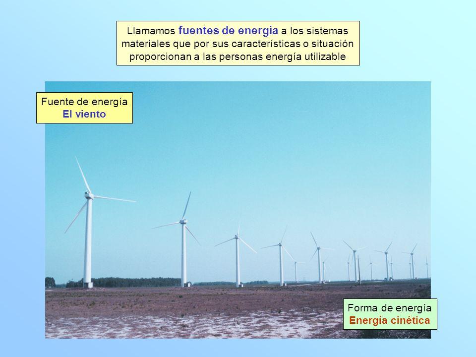 Llamamos fuentes de energía a los sistemas materiales que por sus características o situación proporcionan a las personas energía utilizable Forma de energía Energía cinética Fuente de energía El viento