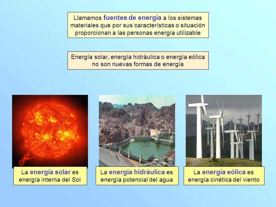 Llamamos fuentes de energía a los sistemas materiales que por sus características o situación proporcionan a las personas energía utilizable Energía solar, energía hidráulica o energía eólica no son nuevas formas de energía La energía solar es energía interna del Sol La energía hidráulica es energía potencial del agua La energía eólica es energía cinética del viento