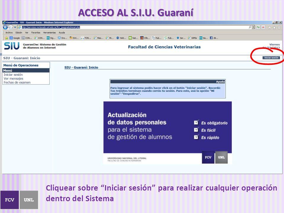 Cliquear sobre Iniciar sesión para realizar cualquier operación dentro del Sistema ACCESO AL S.I.U. Guaraní