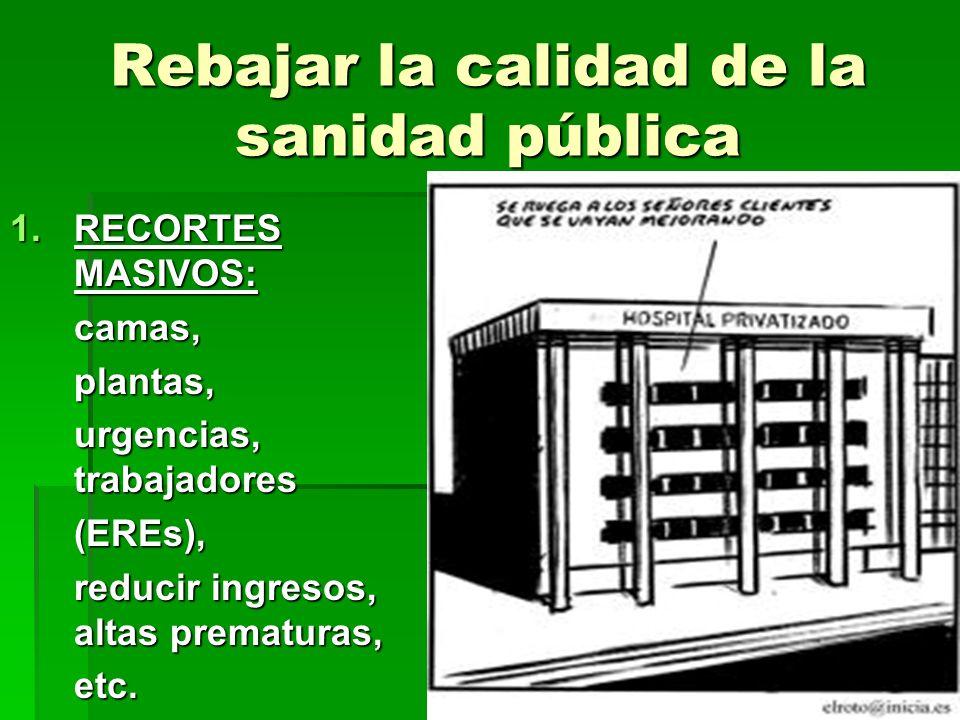 Rebajar la calidad de la sanidad pública 1.RECORTES MASIVOS: camas,plantas, urgencias, trabajadores (EREs), reducir ingresos, altas prematuras, etc.