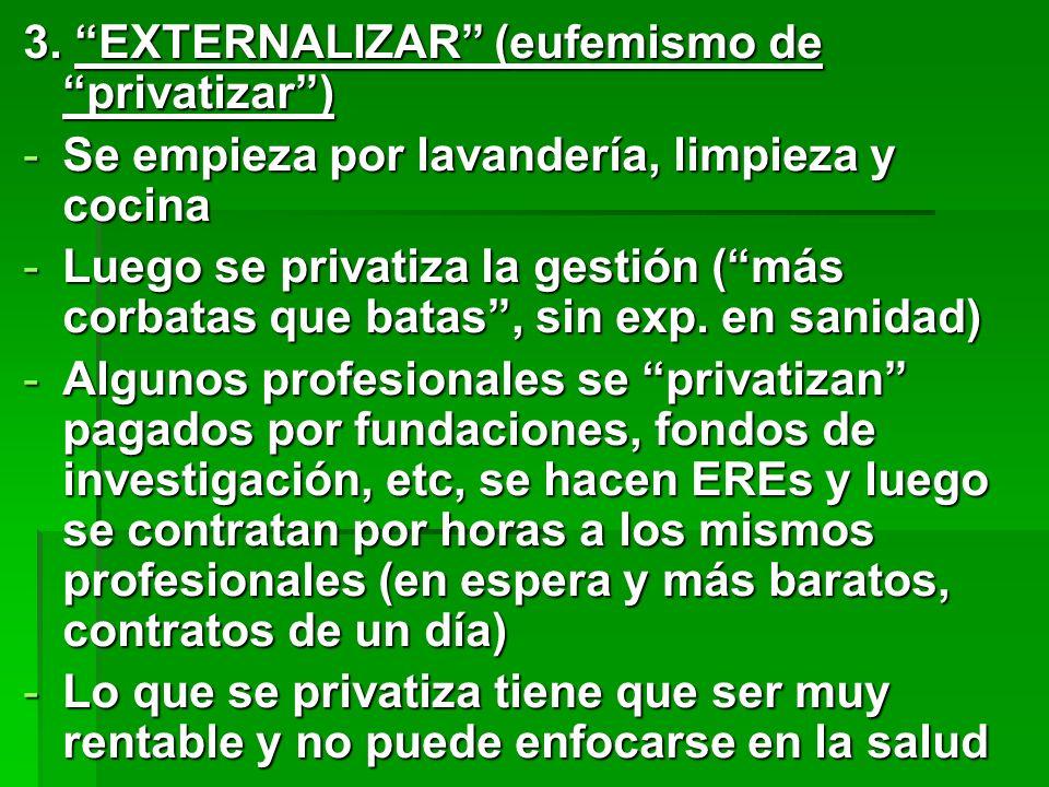 3. EXTERNALIZAR (eufemismo deprivatizar) -Se empieza por lavandería, limpieza y cocina -Luego se privatiza la gestión (más corbatas que batas, sin exp