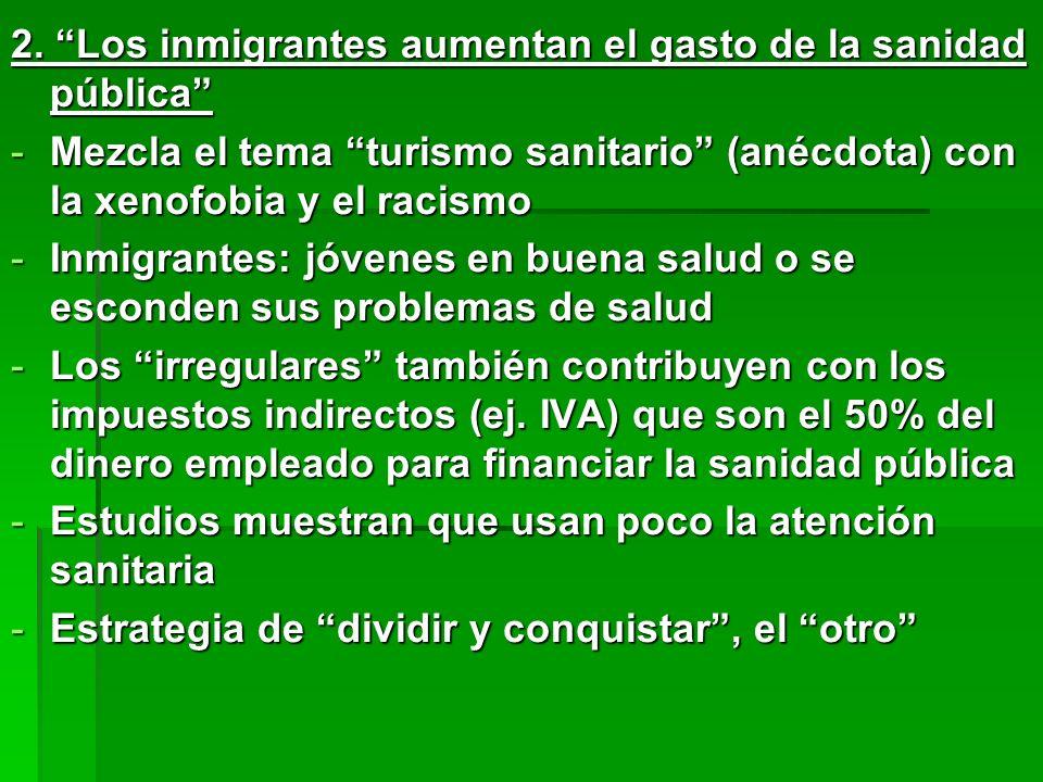 2. Los inmigrantes aumentan el gasto de la sanidad pública -Mezcla el tema turismo sanitario (anécdota) con la xenofobia y el racismo -Inmigrantes: jó