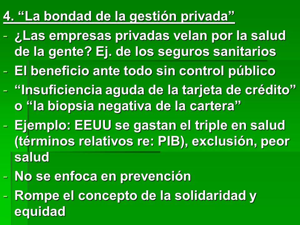 4.La bondad de la gestión privada -¿Las empresas privadas velan por la salud de la gente.