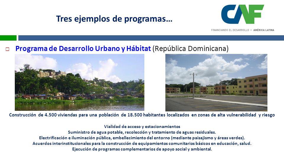Programa de Desarrollo Urbano y Hábitat (República Dominicana) Construcción de 4.500 viviendas para una población de 18.500 habitantes localizados en zonas de alta vulnerabilidad y riesgo Vialidad de acceso y estacionamientos Suministro de agua potable, recolección y tratamiento de aguas residuales.