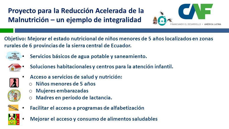 Proyecto para la Reducción Acelerada de la Malnutrición – un ejemplo de integralidad Objetivo: Mejorar el estado nutricional de niños menores de 5 años localizados en zonas rurales de 6 provincias de la sierra central de Ecuador.