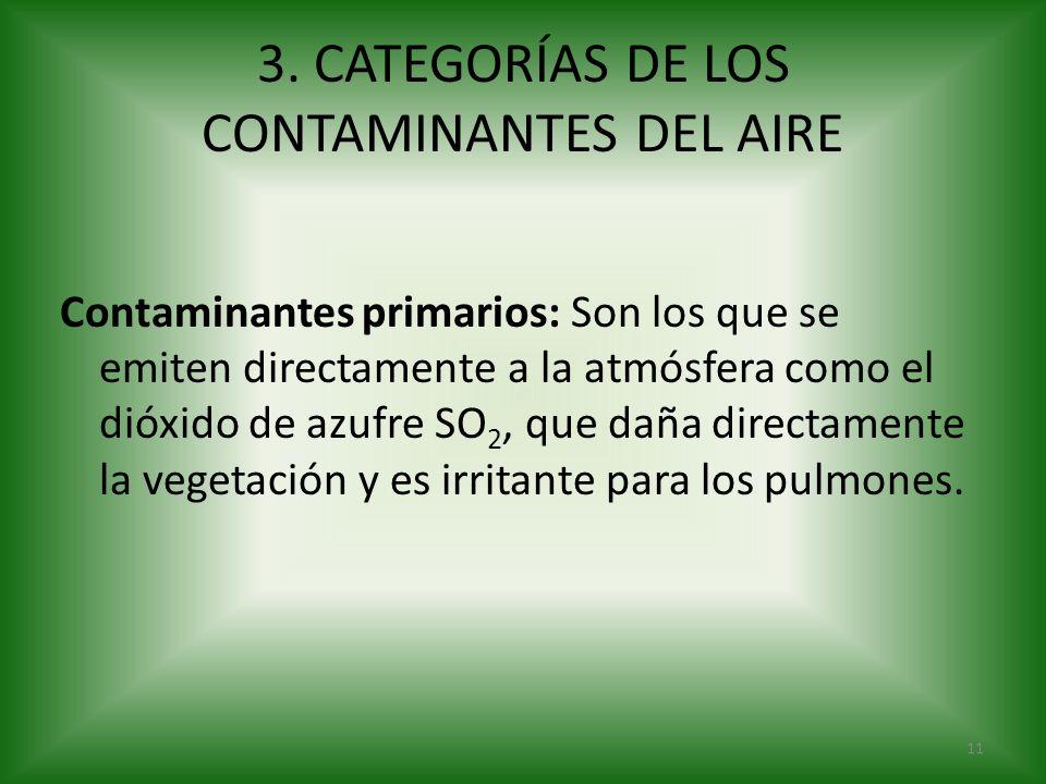 3. CATEGORÍAS DE LOS CONTAMINANTES DEL AIRE Contaminantes primarios: Son los que se emiten directamente a la atmósfera como el dióxido de azufre SO 2,