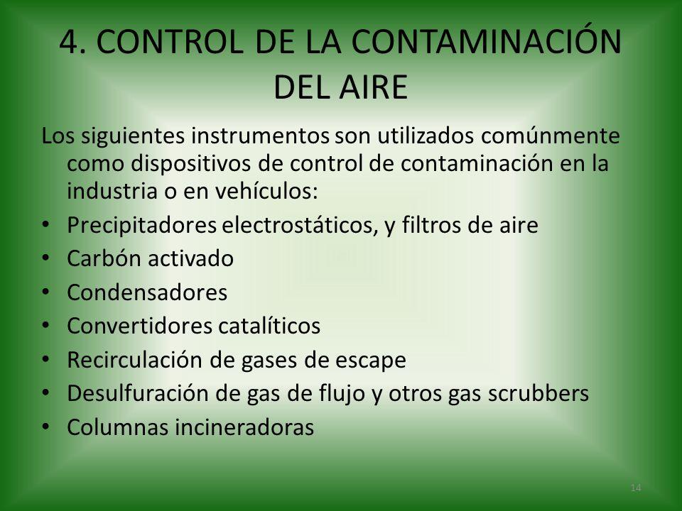 4. CONTROL DE LA CONTAMINACIÓN DEL AIRE Los siguientes instrumentos son utilizados comúnmente como dispositivos de control de contaminación en la indu
