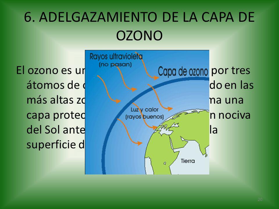 El ozono es un gas azulado compuesto por tres átomos de oxígeno y que, concentrado en las más altas zonas de la atmósfera, forma una capa protectora q
