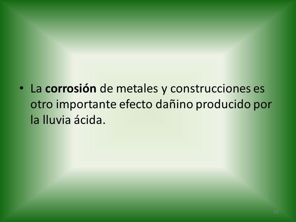 La corrosión de metales y construcciones es otro importante efecto dañino producido por la lluvia ácida. 23