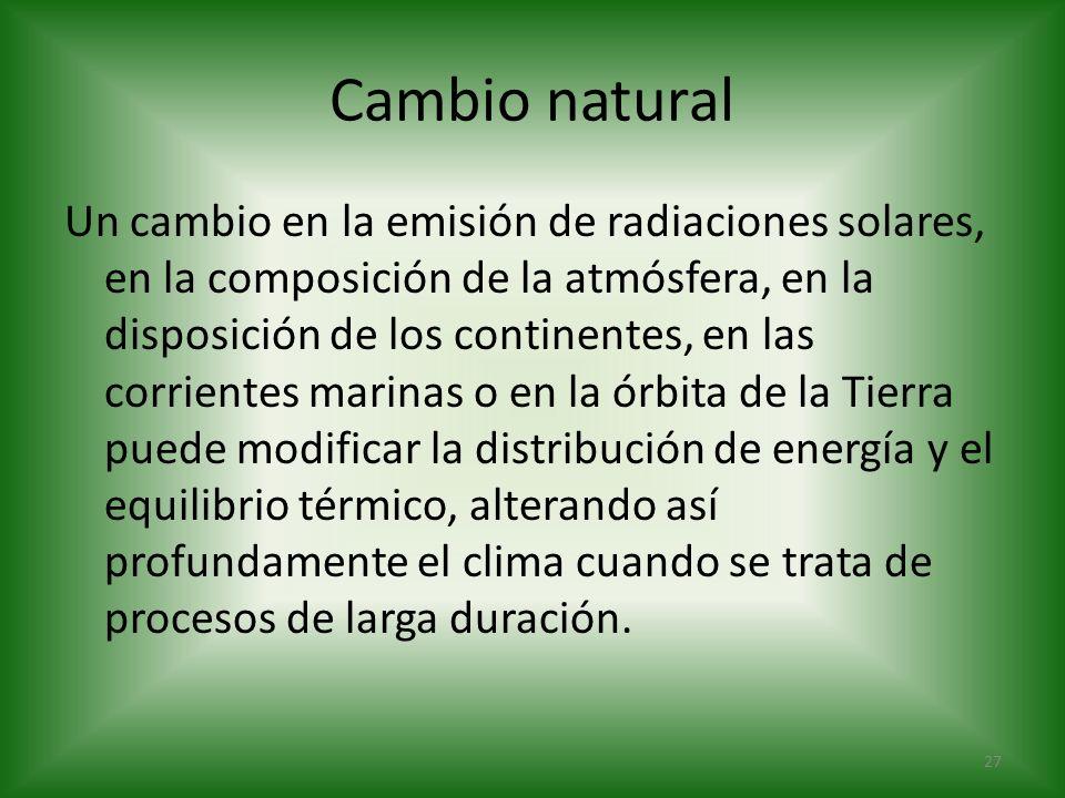 Cambio natural Un cambio en la emisión de radiaciones solares, en la composición de la atmósfera, en la disposición de los continentes, en las corrien