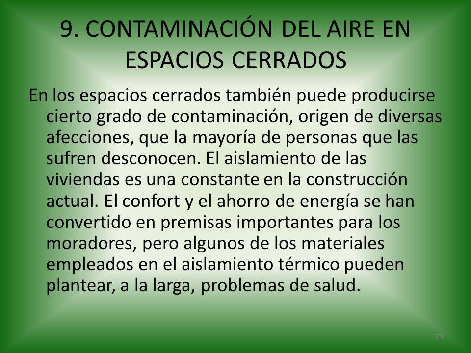 9. CONTAMINACIÓN DEL AIRE EN ESPACIOS CERRADOS En los espacios cerrados también puede producirse cierto grado de contaminación, origen de diversas afe