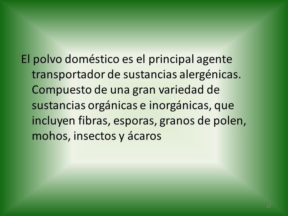 El polvo doméstico es el principal agente transportador de sustancias alergénicas. Compuesto de una gran variedad de sustancias orgánicas e inorgánica