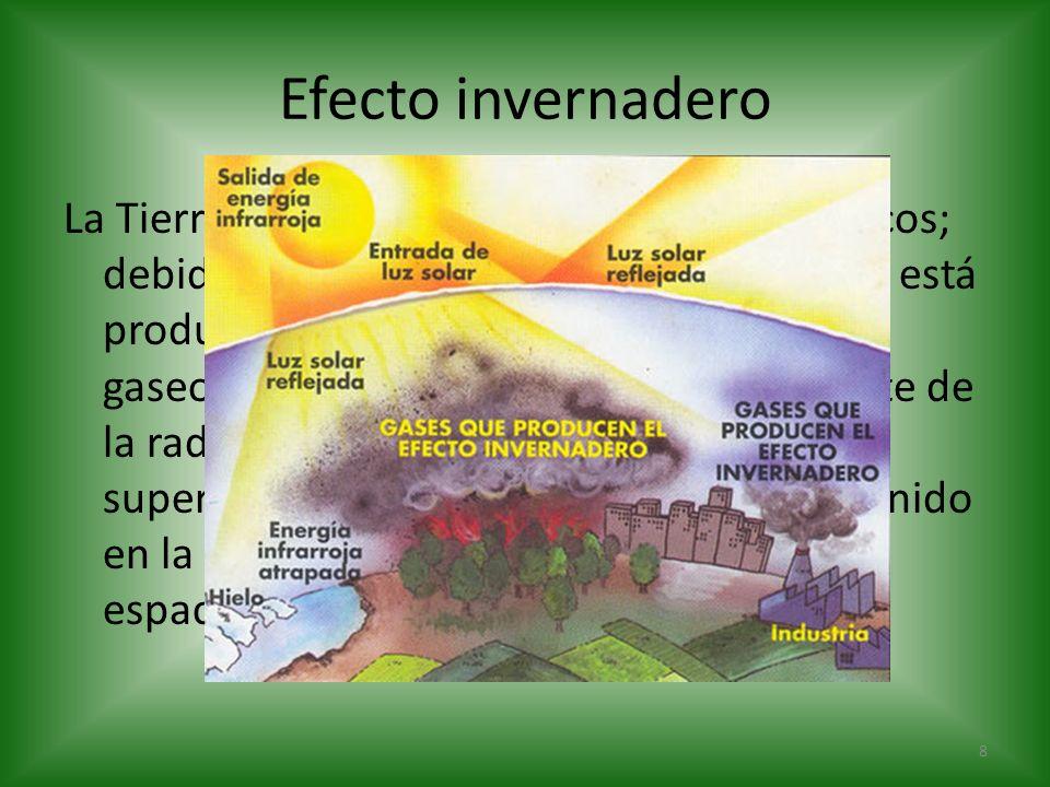 Efecto invernadero La Tierra no tiene grandes contrastes térmicos; debido al efecto invernadero natural, que está producido por todos los componentes
