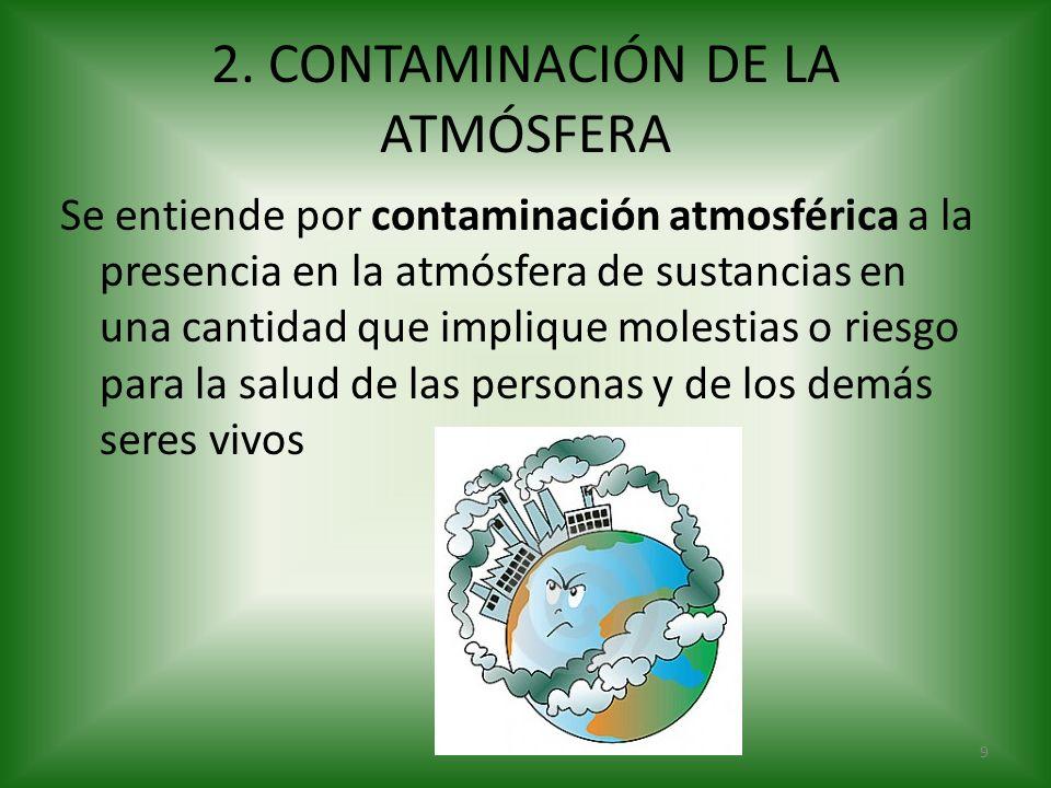 2. CONTAMINACIÓN DE LA ATMÓSFERA Se entiende por contaminación atmosférica a la presencia en la atmósfera de sustancias en una cantidad que implique m