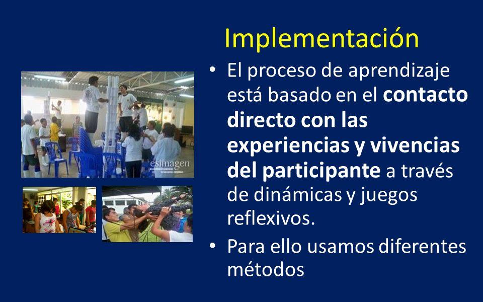 Implementación El proceso de aprendizaje está basado en el contacto directo con las experiencias y vivencias del participante a través de dinámicas y